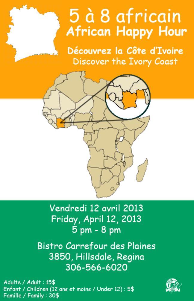 Affiche - 5 à 7 africain au Bistro du Carrefour des Plaines