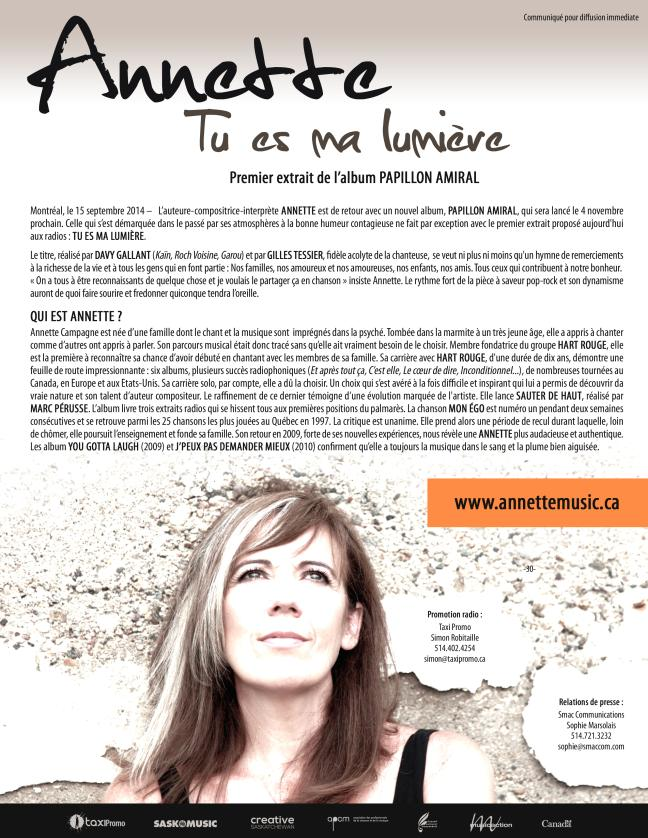 Affiche - Annette - Tu es ma lumière