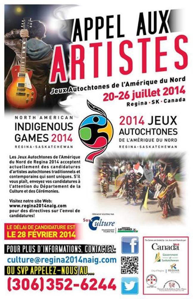 Affiche - Appel aux artistes - Jeux Autochtones de l'Amérique du Nord