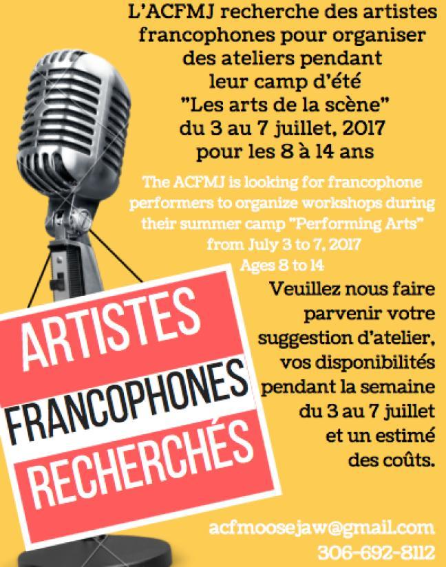 Affiche - Artistes francophones recherchés
