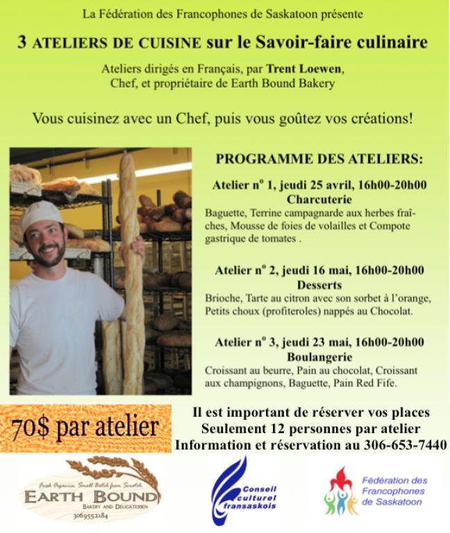 Affiche - Ateliers de cuisine sur le Savoir-faire culinaire