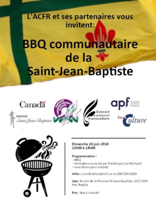 Affiche - BBQ Communautaire de la Saint-Jean-Baptiste