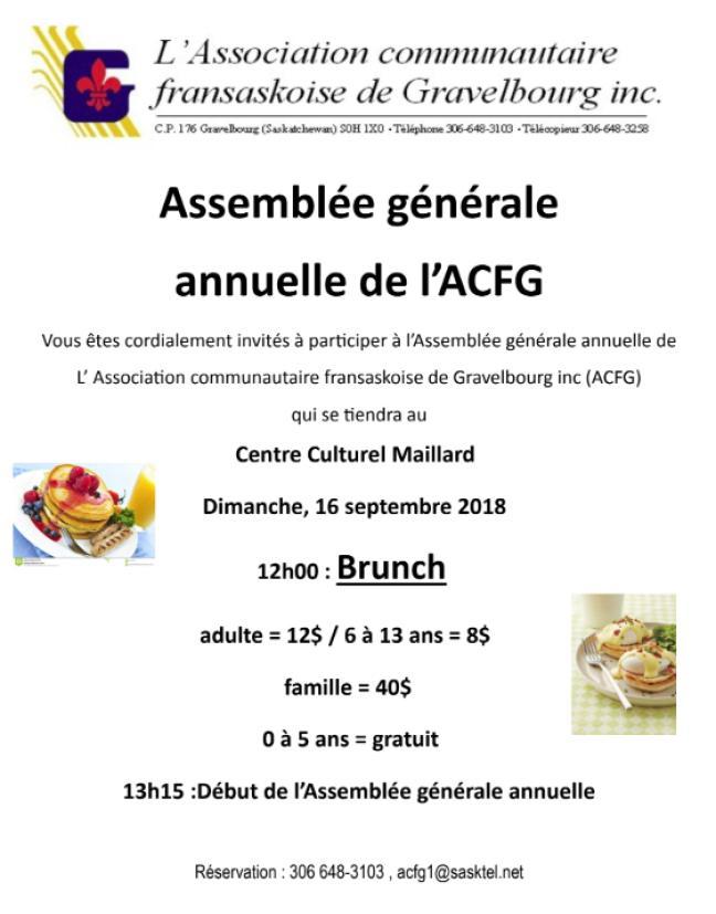 Affiche - Brunch et AGA de l'ACFG
