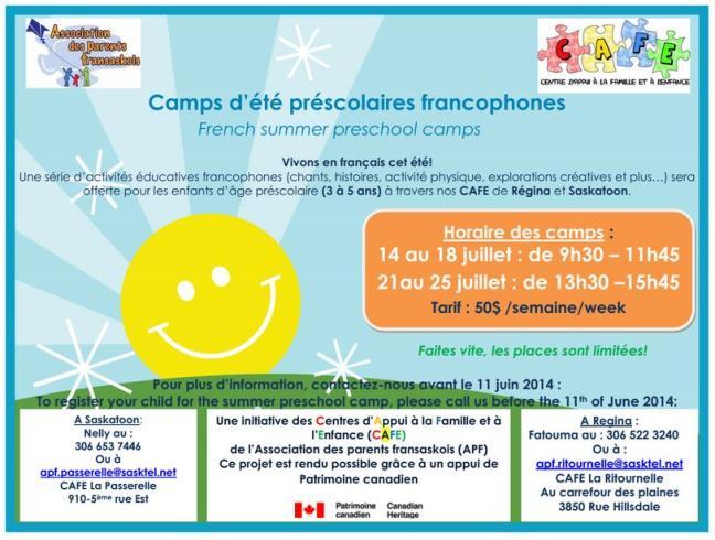 Affiche - Camps d'été préscolaires francophones