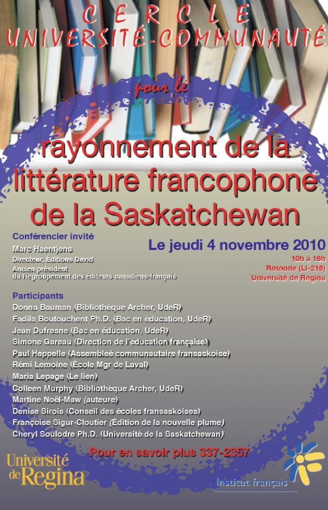 Affiche - Cercle Université-Communauté - Rayonnement de la littérature francophone de la Saskatchewan