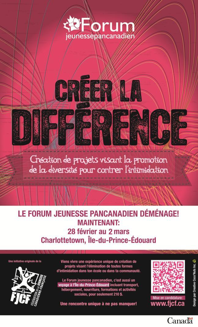 Affiche - Cinquième Forum jeunesse pancanadien déménage - FJCF