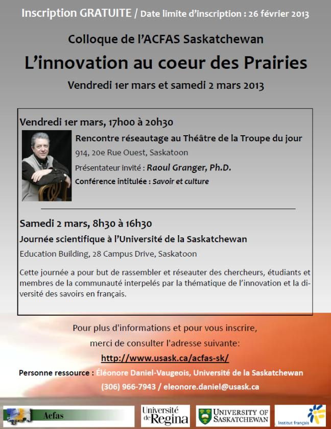 Affiche - Colloque de l'ACFAS Saskatchewan : l'innovation au coeur des Prairies