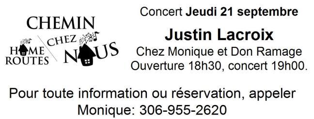 Affiche - Concert Chemin chez nous avec Justin Lacroix