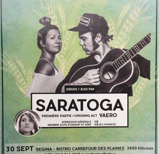 Affiche - Concert de Saratooga à Regina