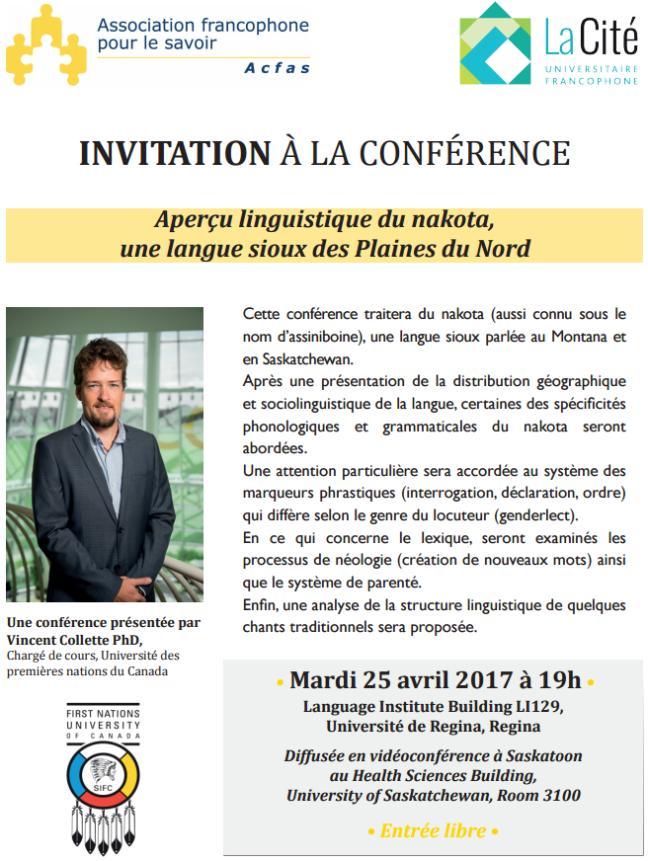 Affiche - Conférence 'Aperçu linguistique du nakota, une langue sioux des Plaines du Nord'