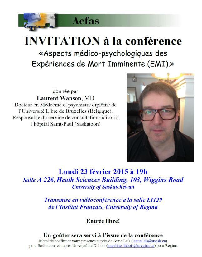 Affiche - Conférence « Aspects médico-psychologiques des expériences de mort imminente (EMI) »