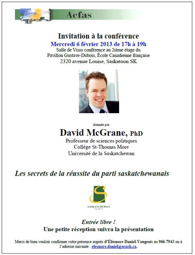 Affiche - Conférence de David McGrane