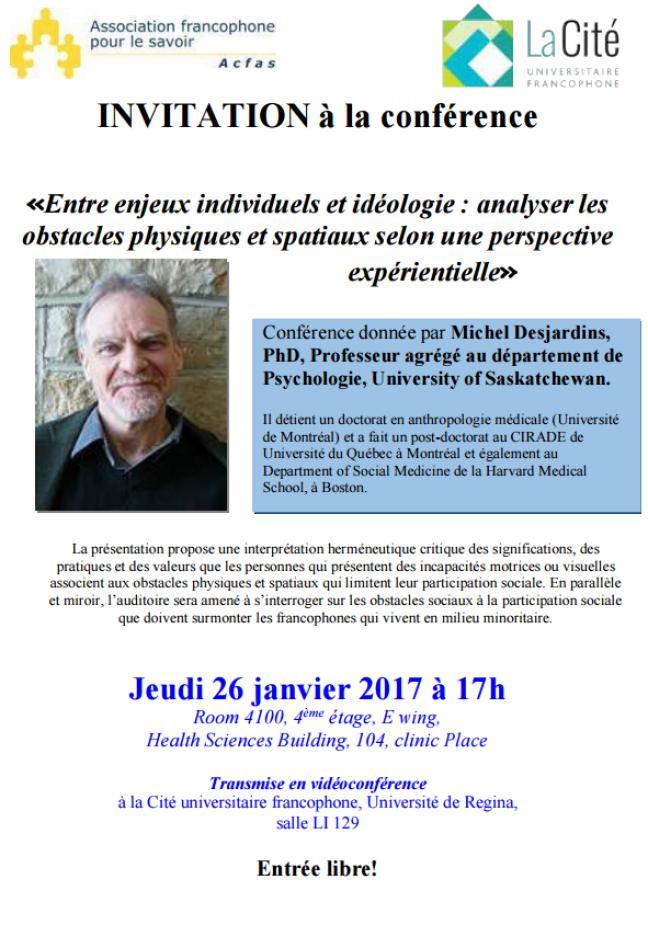 Affiche - Conférence de Michel Desjardins