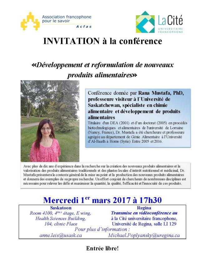Affiche - Conférence: Développement et reformulation de nouveaux produits alimentaires