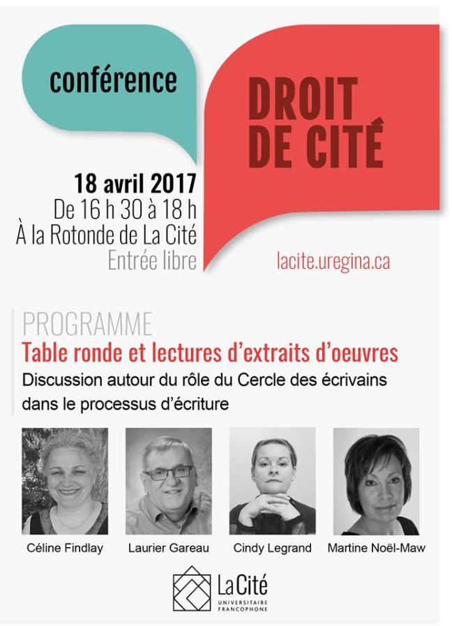 Affiche - Conférence Droit de Cité - Discussion autour de l'écriture