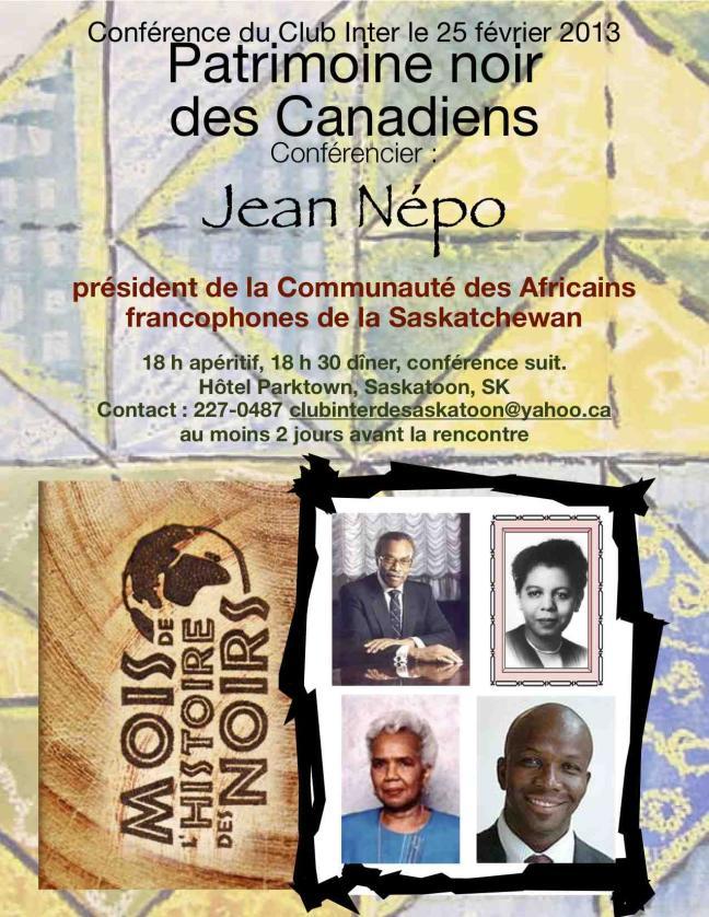 Affiche - Conférence du Club Inter : Patrimoine noir des Canadiens
