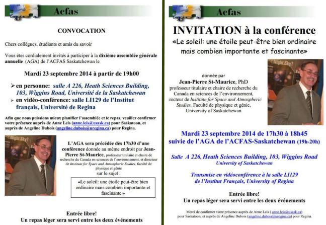 Affiche - Conférence et AGA de l'ACFAS