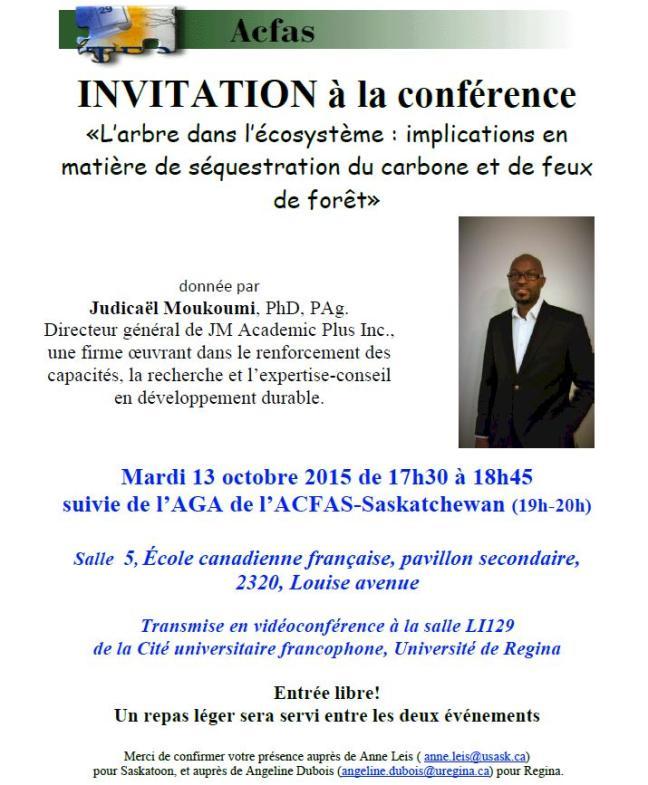 Affiche - Conférence: L'arbre dans l'écosystème - Judicaël Moukoumi, PhD, PAg.