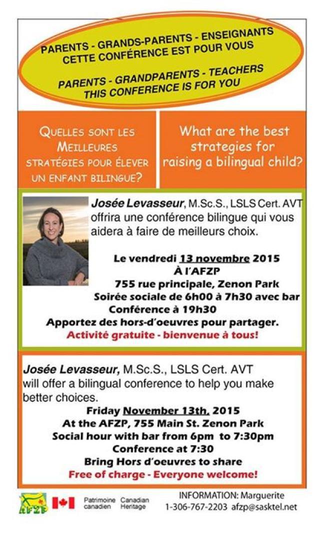 Affiche - Conférence: Meilleures stratégies pour élever un enfant bilingue