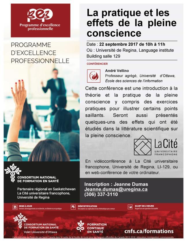 Affiche - Conférence sur [i La pratique et les effets de la pleine conscience]