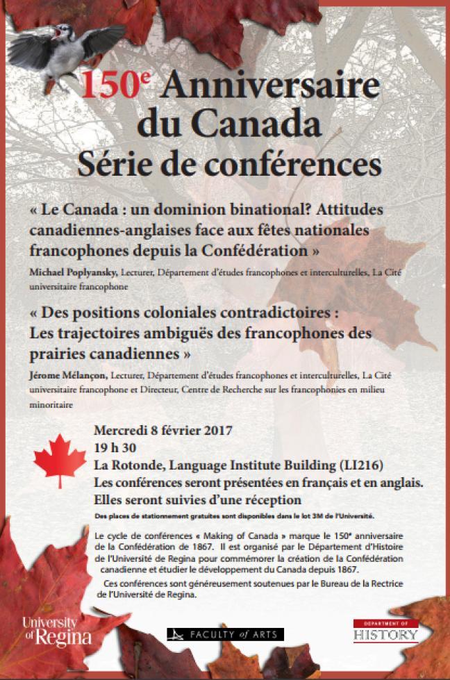 Affiche - Conférences: 150e Anniversaire du Canada