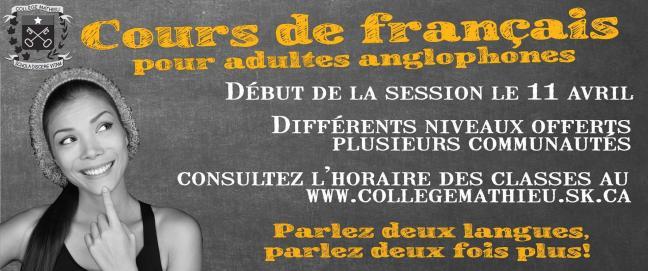Affiche - Cours de français pour adultes anglophones