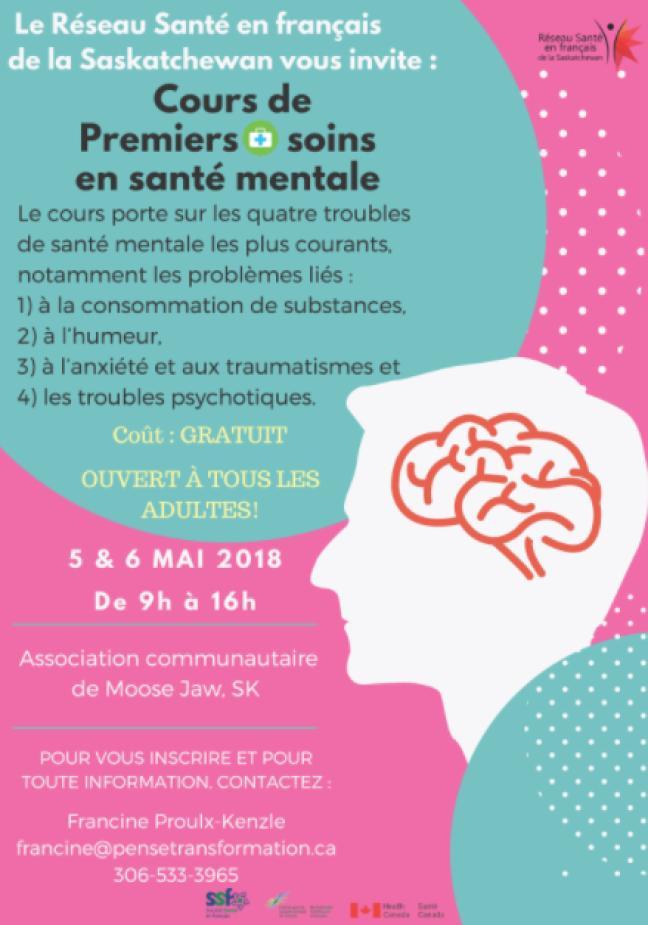Affiche - Cours de Premiers soins en santé mentale offert à Gravelbourg et Moose Jaw