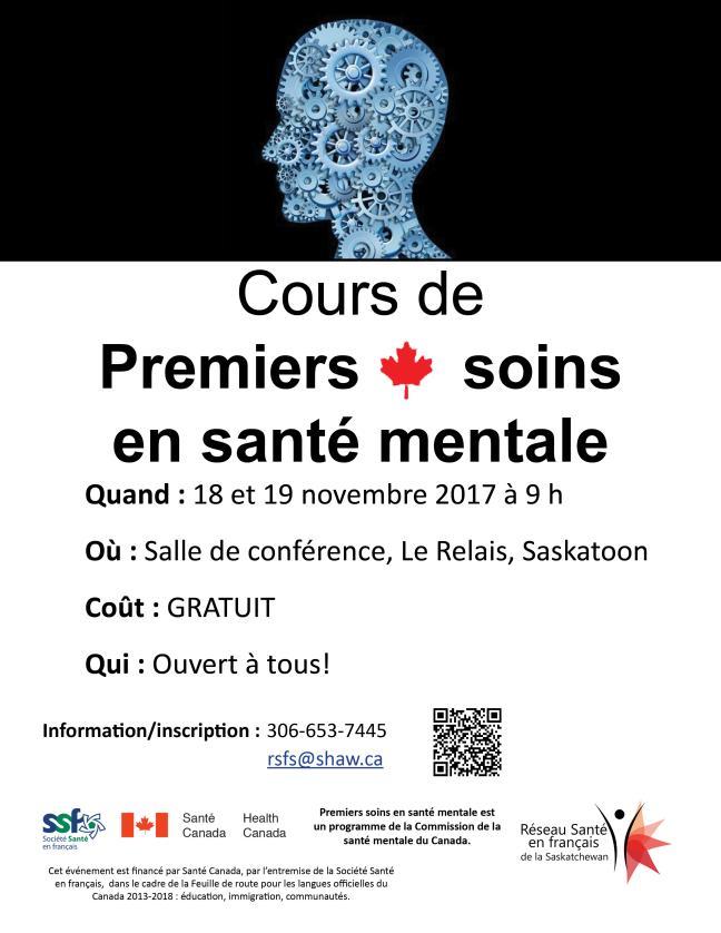Affiche - Cours de Premiers soins en santé mentale