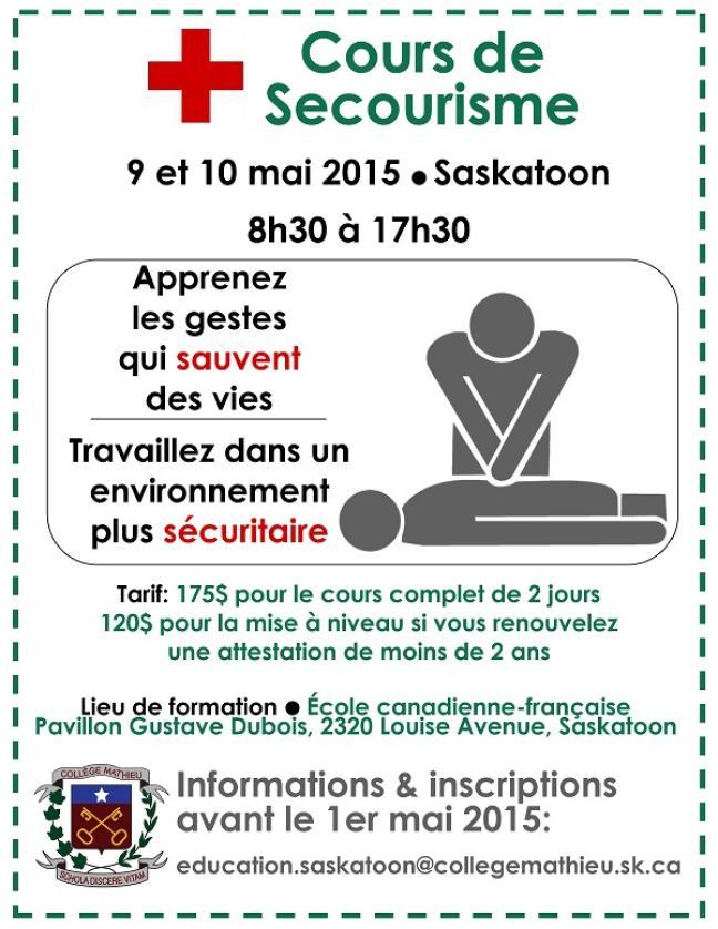 Affiche - Cours de secourisme à Saskatoon