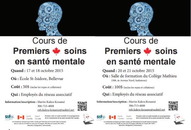 Affiche - Cours Premiers soins en santé mentale offerts à Saskatoon et Bellevue cet automne