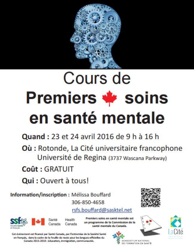 Affiche - Cours Premiers soins santé mentale à Regina