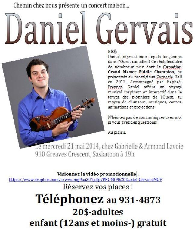 Affiche - Daniel Gervais à Saskatoon