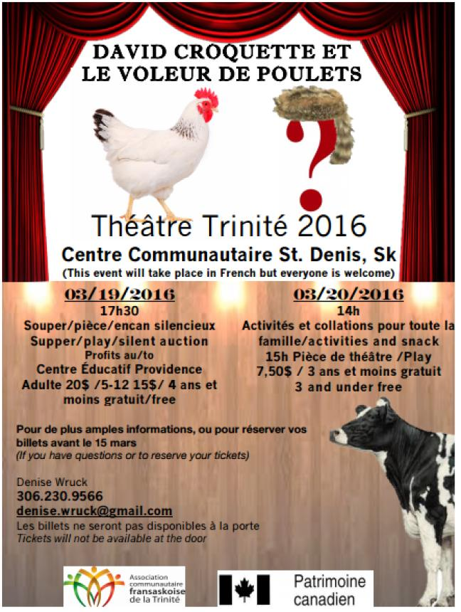 Affiche - David Croquette et le voleur de poulets à St-Denis