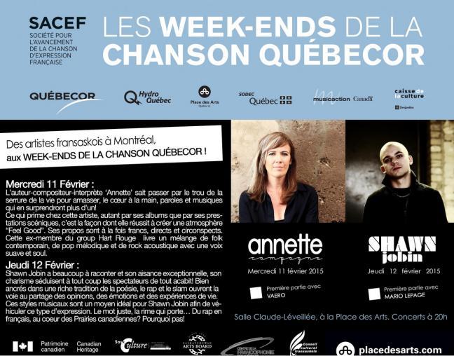 Affiche - Des artistes fransaskois à Montréal!