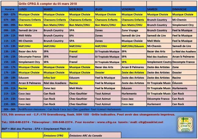 Affiche - Grille horaire de CFRG