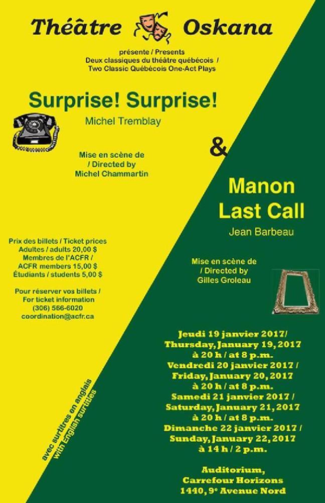 Affiche - [i Surprise! Surprise!] et [i Manon, last call] à Regina