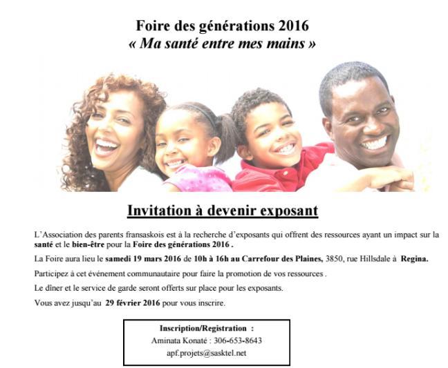Affiche - Invitation à devenir exposant Foire des générations 2016