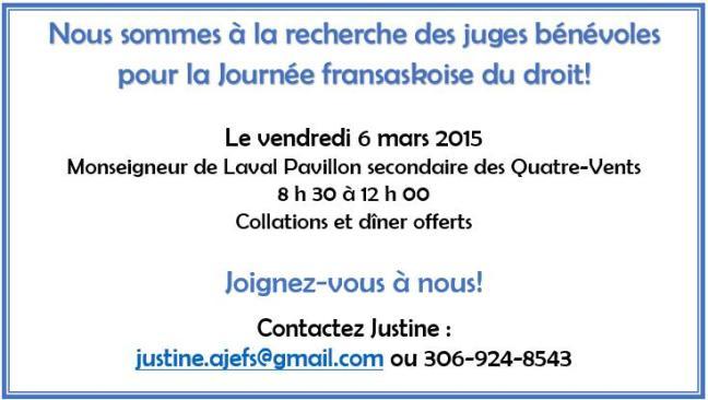 Affiche - Journée fransaskoise du droit