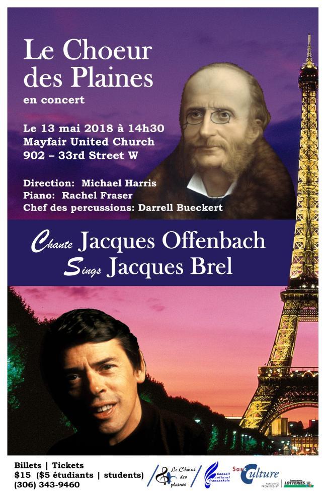 Affiche - Le Chœur des plaines chante Brel et Offenbach