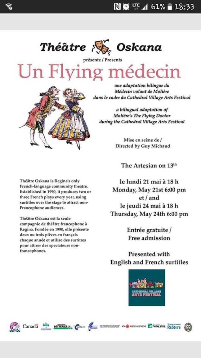 Affiche - Médecin volant de Molière au Cathedral Village Arts Festival à Regina