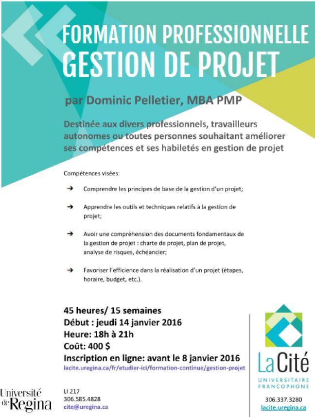 Affiche - Nouvelle formation professionnelle en gestion de projet à La Cité