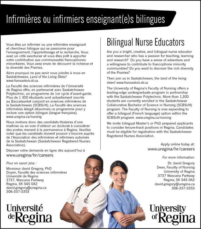 Affiche - Offre d'emploi - professionnel(le)s bilingues en sciences infirmières