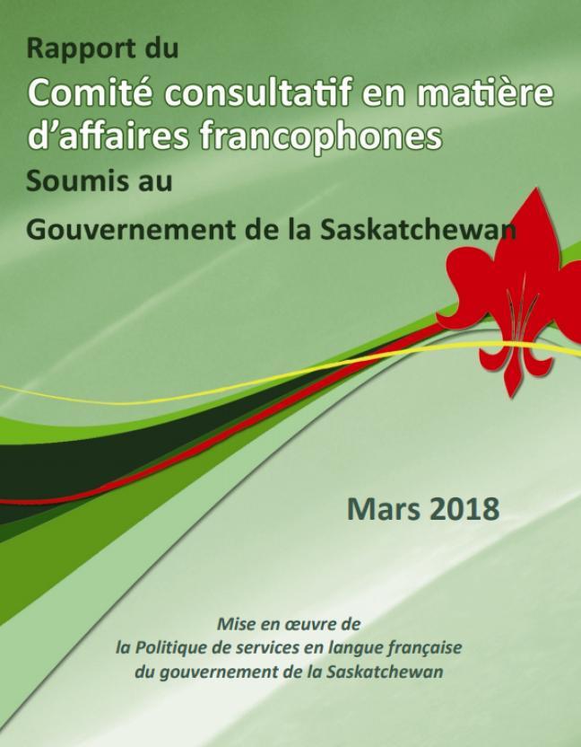Affiche - Rapport: Politique des services en français du gouvernement de la Saskatchewan.