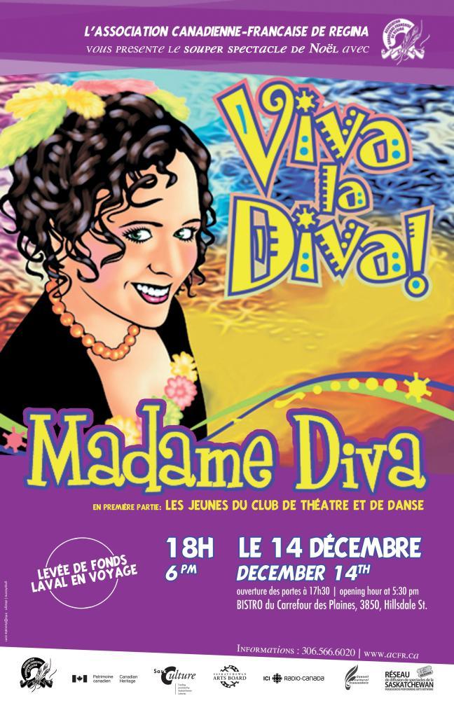 Affiche - Souper-spectacle avec Madame Diva - 14 décembre à 18h au Bistro du Carrefour des Plaines