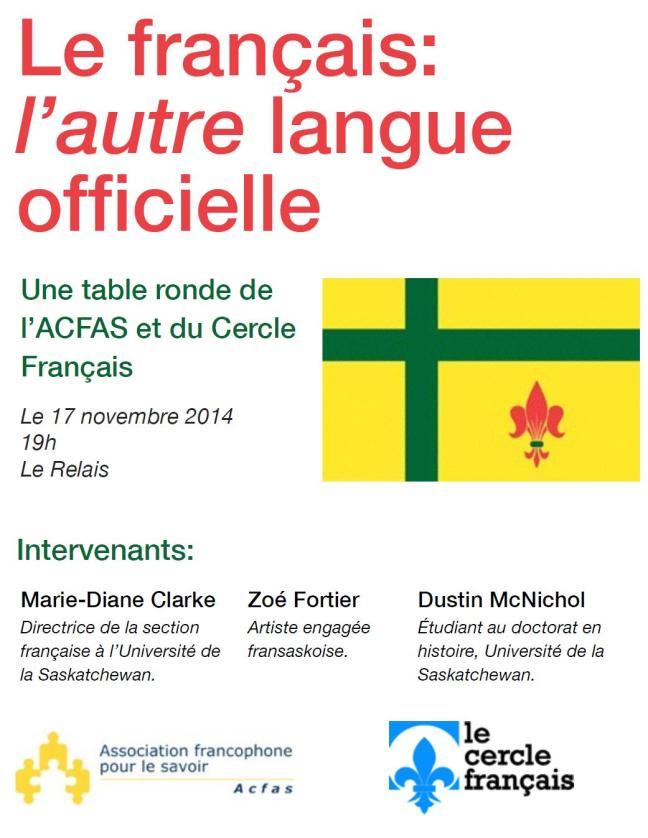 Affiche - Table ronde - Le français: [i l'autre] langue officielle