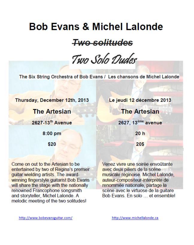 Affiche - Two Solo Dudes - Bob Evans et Michel Lalonde - Décembre 2013 à Regina