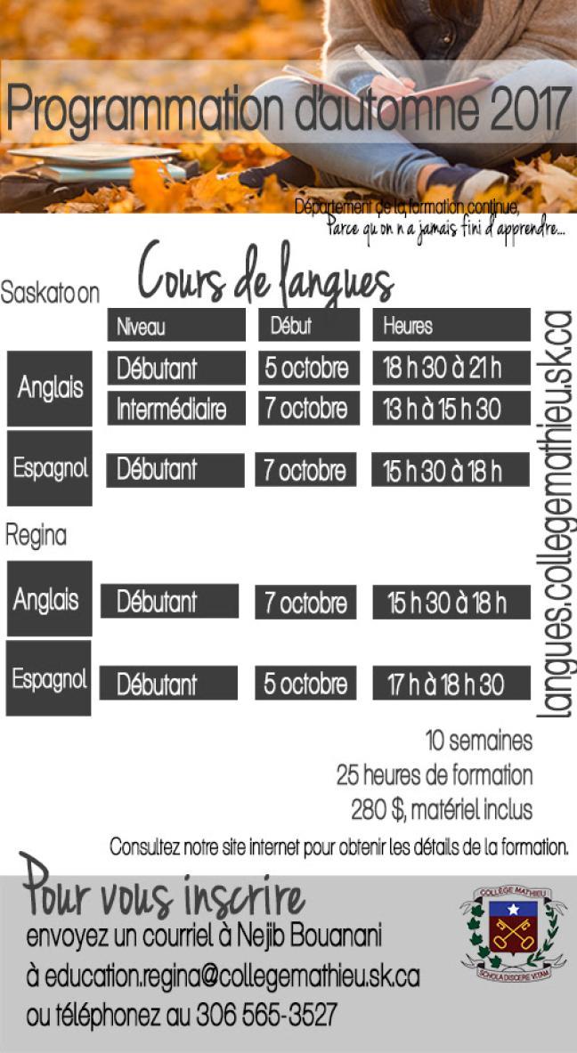 Affiche - Cours de langues